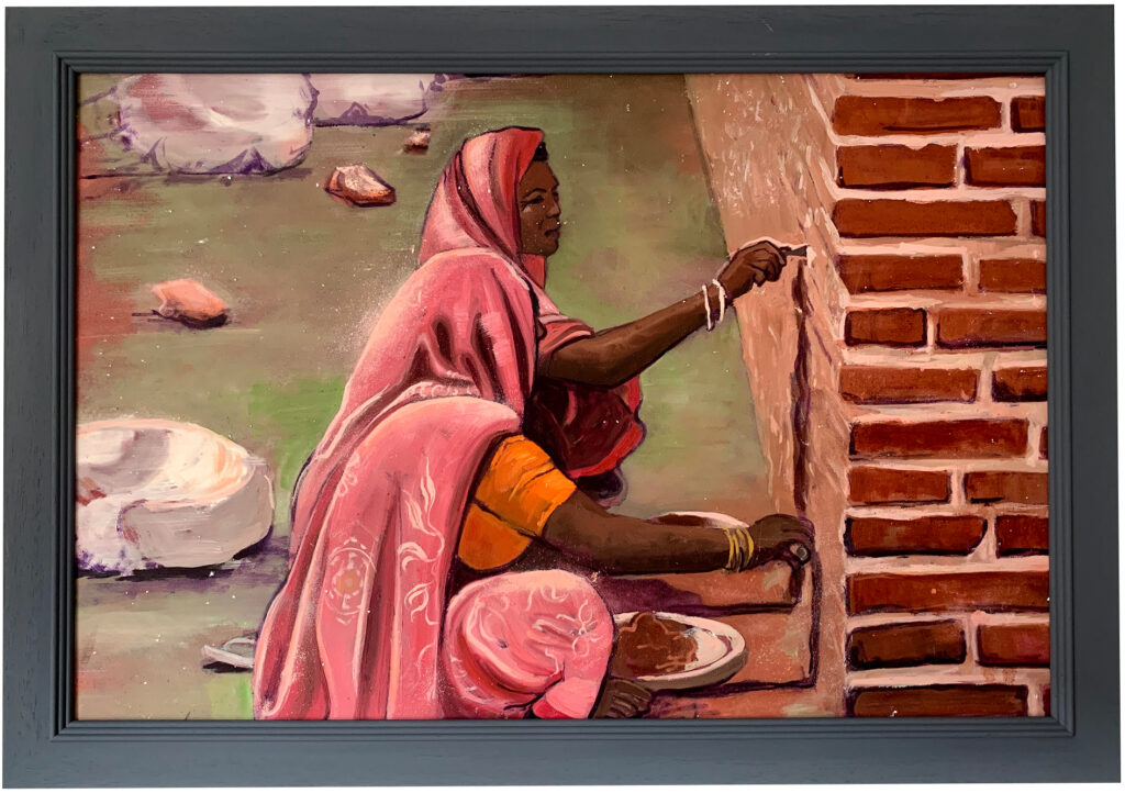 Pointing brickwork - India