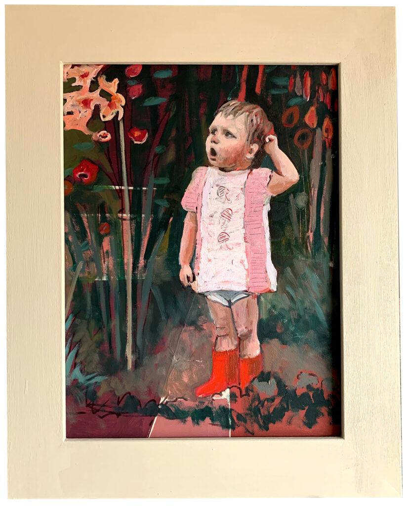 Self-portrait as a child in the flowerbed